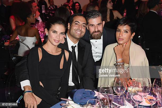 Sara Sampaio Mohammed Al Turki Salvo Nicosia and Deena Abdulaziz attend the dinner of amfAR Milano 2016 at La Permanente on September 24 2016 in...