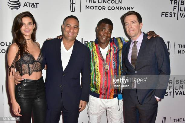 Sara Sampaio Russell Peters Tracy Morgan and Ed Helms attend the 2017 Tribeca Film Festival 'The Clapper' screening at SVA Theatre on April 23 2017...