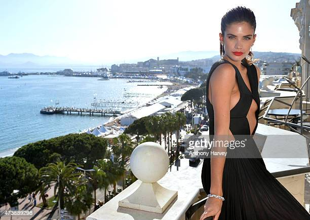 Sara Sampaio visits the Avakian suite during the 68th Annual Cannes Film Festival at Carlton Hotel on May 18 2015 in Cannes France
