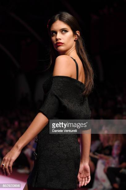 Sara Sampaio walks the runway at the Dolce Gabbana show during Milan Fashion Week Spring/Summer 2018 on September 24 2017 in Milan Italy