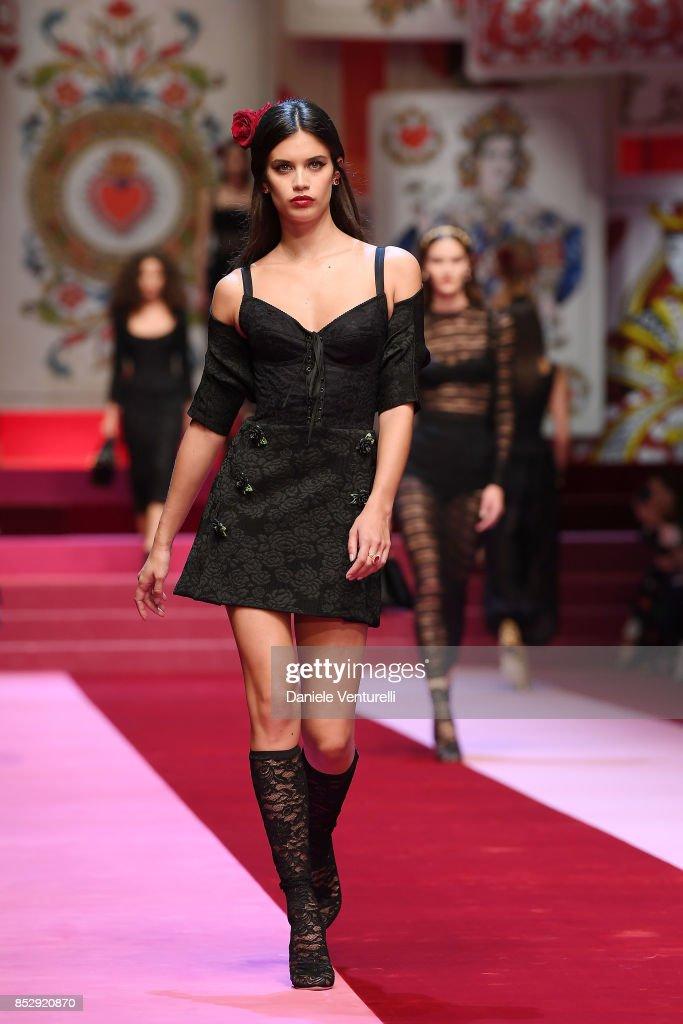 Sara Sampaio walks the runway at the Dolce & Gabbana show during Milan Fashion Week Spring/Summer 2018 on September 24, 2017 in Milan, Italy.