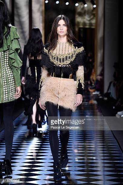 Sara Sampaio walks the runway during the Balmain show as part of the Paris Fashion Week Womenswear Fall/Winter 2016/2017 on March 3 2016 in Paris...