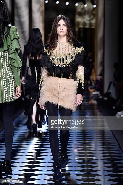 Sara Sampaio walks the runway during the Balmain show as part of the Paris Fashion Week Womenswear Fall/Winter 2016/2017 on March 3 2016 in Paris...