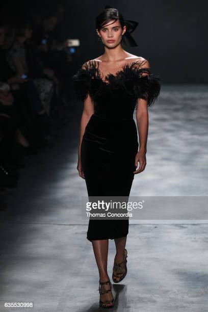 Sara Sampaio walks the runway wearing Marchesa Fall 2017 during New York Fashion Week at Gallery 2 Skylight Clarkson Sq on February 15 2017 in New...