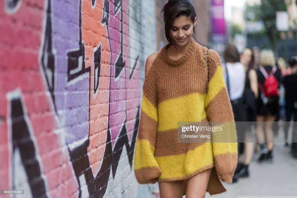 Sara Sampaio wearing a striped oversized knit seen in the streets of Manhattan outside Zadig & Voltaire during New York Fashion Week on September 11, 2017 in New York City.
