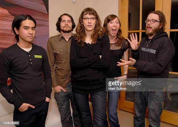 Sara Schaefer host of Spinnercom's 'The DL' with Christopher Guanlgo Brian Aubert Nikki Monninger and Joe Lester of Silversun Pickups