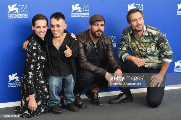 Sara Serraiocco Simoncino Marco D'Amore and Claudio Santamaria attend the 'Brutti E Cattivi' photocall during the 74th Venice Film Festival on...