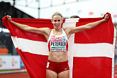 Sara Slott Petersen of Denmark celebrates after winning gold in the final of the womens 400m hurdles on day five of The 23rd European Athletics...