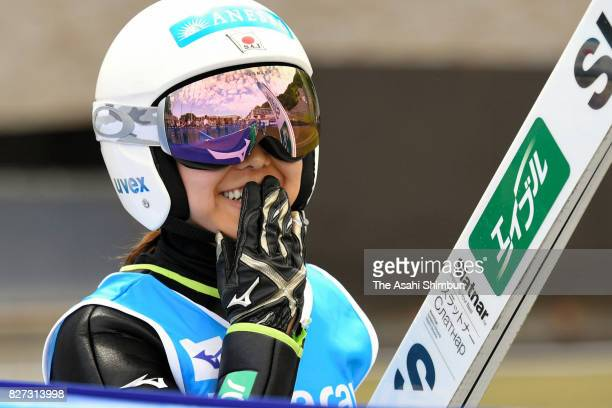 Sara Takanashi celebrates winning the gold medal in the Okurayama Summer Ski Jumping Championship at Okurayama Jump Stadium on August 5 2017 in...