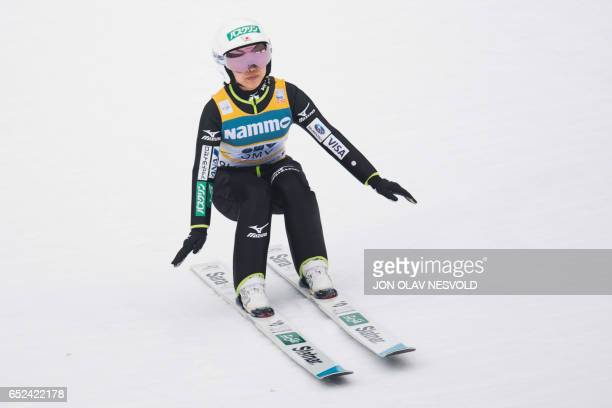 Sara Takanashi from Japan competes to place second in the Women's Large Hill Individual ski jumping event of the FIS Nordic Combined World Cup at the...