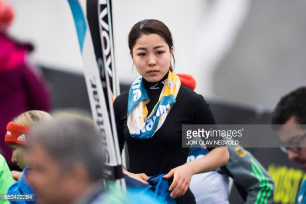 Sara Takanashi from Japan reacts after placing second in the Women's Large Hill Individual ski jumping event of the FIS Nordic Combined World Cup at...