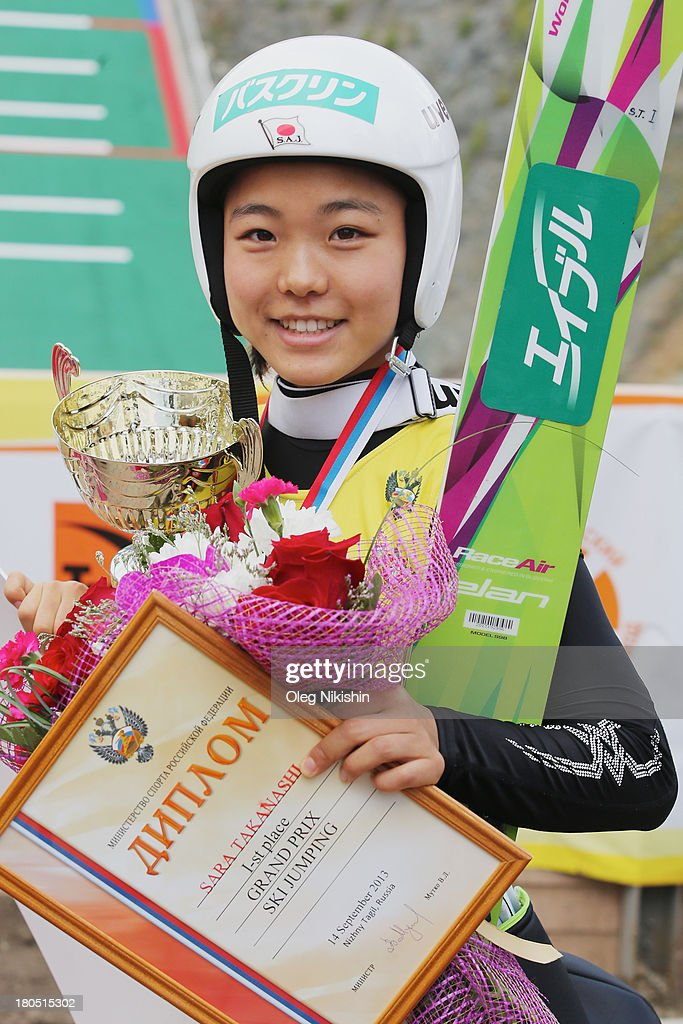 Sara Takanashi of Japan after her win in the FIS Ski Jumping Grand Prix Womens on September 14 2013 in Nizhni Tagil Russia