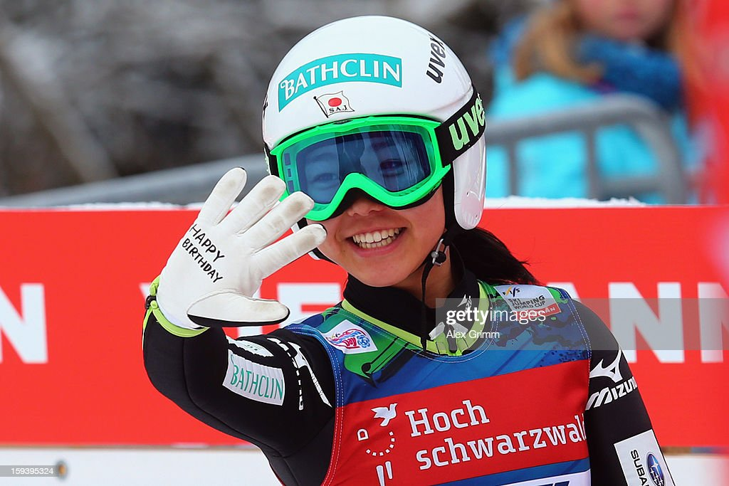 Sara Takanashi of Japan celebrates after winning the FIS Ski Jumping World Cup Women's HS108 on January 13, 2013 in Titisee-Neustadt, Germany.