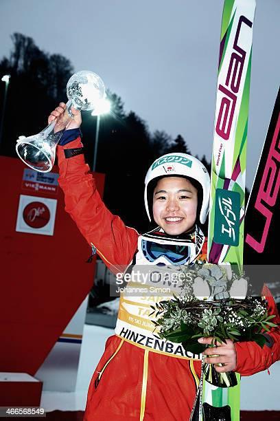 Sara Takanashi of Japan celebrates after winning the Normal Hill Individual competition during the FIS Women's Ski Jumping World Cup at Hinzenbach...