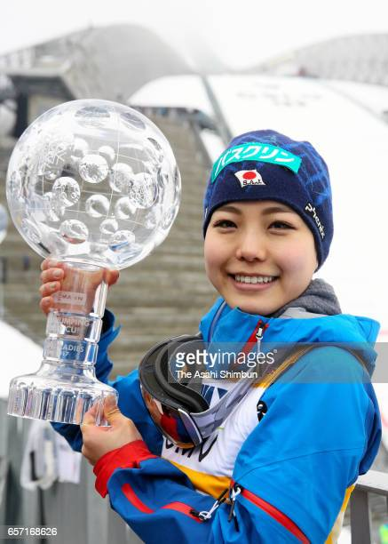 Sara Takanashi of Japan celebrates her FIS Ski Jumping Women's overall champion for 2016/2017 season during day two of the FIS Ski Jumping World Cup...