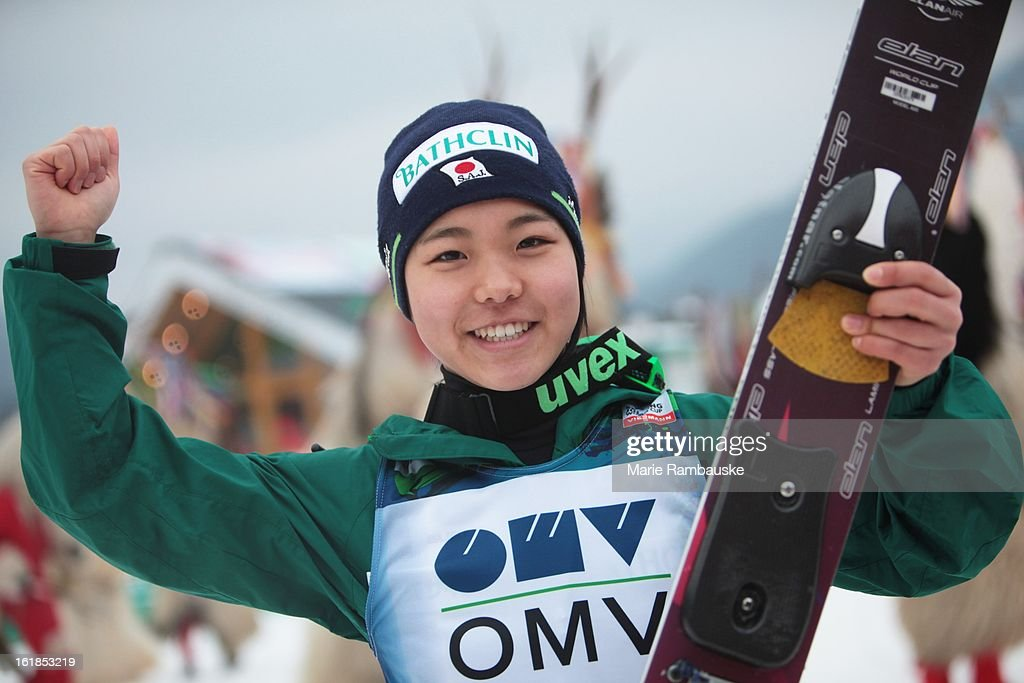 Sara Takanashi of Japan celebrates victory during the FIS Women's Ski Jumping event on February 17 2013 in Ljubno ob Savinji Slovenia