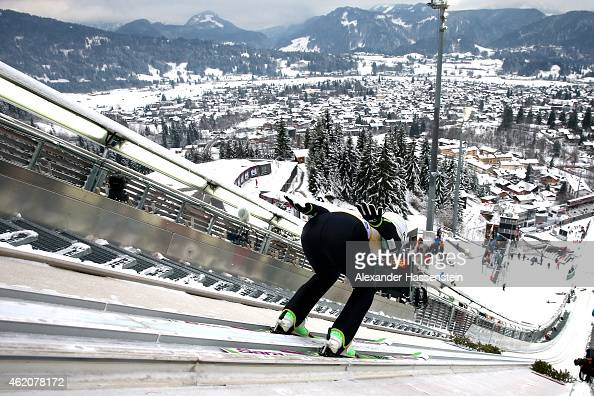 Sara Takanashi of Japan competes during day one of the Women Ski Jumping World Cup event at SchattenbergSchanze Erdinger Arena on January 24 2015 in...