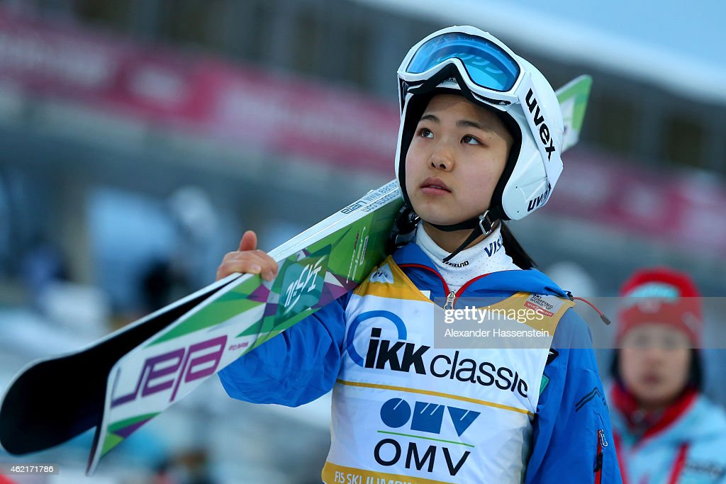 Sara Takanashi of Japan competes during day two of the Women Ski Jumping World Cup event at SchattenbergSchanze Erdinger Arena on January 25 2015 in...