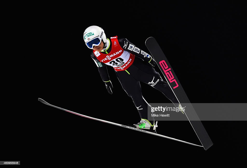 Sara Takanashi of Japan competes during the Women's HS100 Normal Hill Ski Jumping during the FIS Nordic World Ski Championships at the Lugnet venue...
