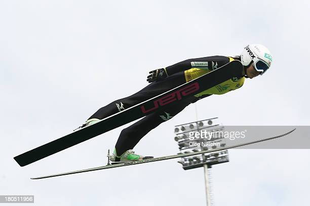 Sara Takanashi of Japan competes in her first jump during training for the FIS Ski Jumping Grand Prix Womens on September 14 2013 in Nizhni Tagil...