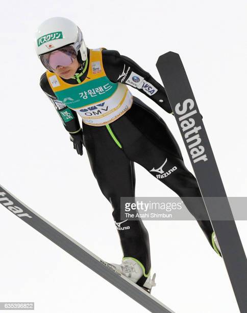 Sara Takanashi of Japan competes in the first jump during the Ladies Normal Hill during day one of the FIS Ski Jumping World Cup PyeongChang at...