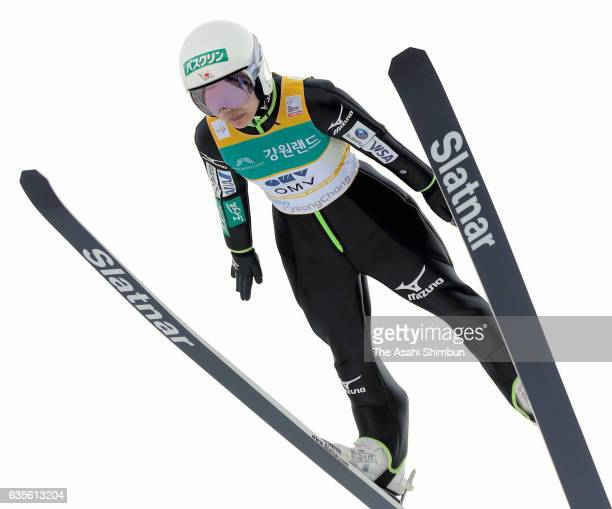 Sara Takanashi of Japan competes in the first jump of the Ladies Normal Hill during day two of the FIS Ski Jumping World Cup PyeongChang at Alpensia...