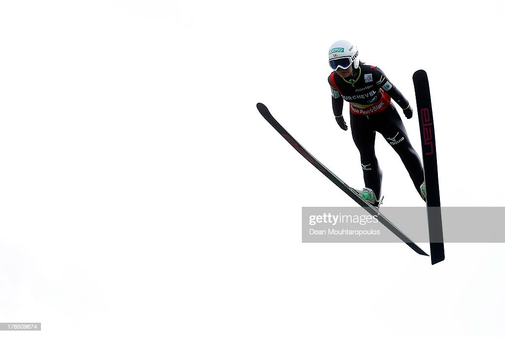 Sara Takanashi of Japan competes in the FIS Ski Jumping Grand Prix Mixed Team First Round on August 14 2013 in Courchevel France