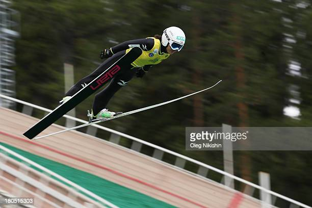 Sara Takanashi of Japan competes the final jump in the FIS Ski Jumping Grand Prix Womens on September 14 2013 in Nizhni Tagil Russia