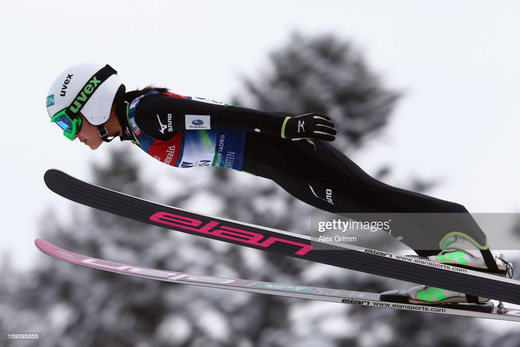 Sara Takanashi of Japan competes to win the FIS Ski Jumping World Cup Women's HS108 on January 13, 2013 in Titisee-Neustadt, Germany.