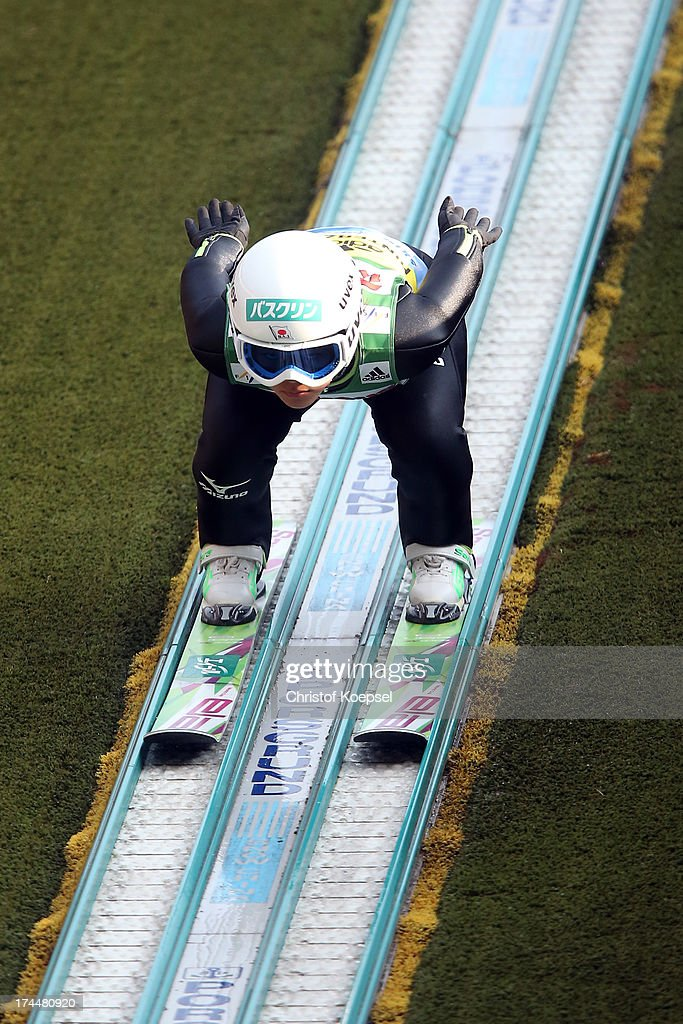 Sara Takanashi of Japan during her qualification jumpduring the women's competition of the FIS Ski Jumping Summer Grand Prix at Rothausschanze on...