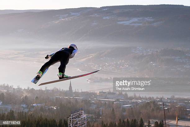 Sara Takanashi of Japan in action during the training session of the FIS Ski Jumping World Cup at Lysgaardsbakkene Ski Jumping Hill on December 4...