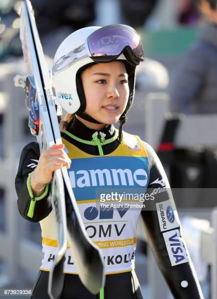 Sara Takanashi of Japan is seen after an official practice ahead of the Women's Large Hill during day three of the FIS Ski Jumping World Cup on March...