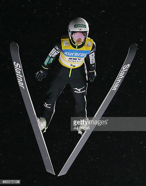 Sara Takanashi of Japan jumps during the first round of the women's ski jumping World Cup event at Zao near Yamagata city in Yamagata prefecture on...