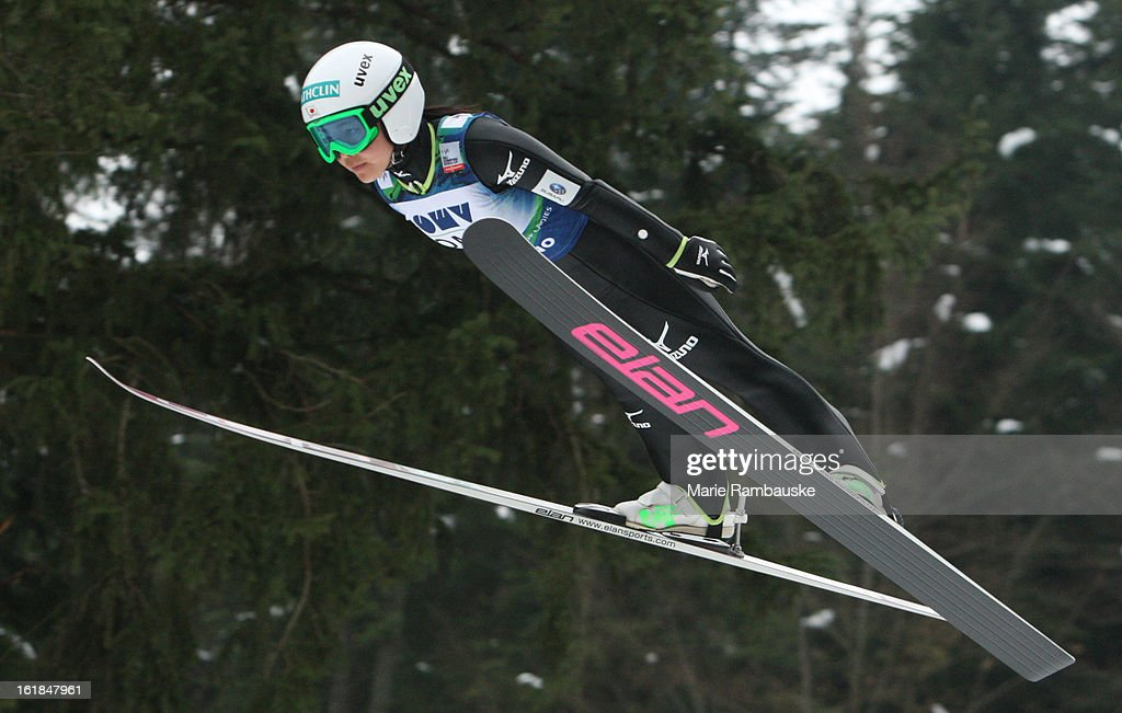Sara Takanashi of Japan jumps during the FIS Women's Ski Jumping on February 17 2013 in Ljubno ob Savinji Slovenia