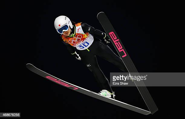 Sara Takanashi of Japan jumps during the Ladies' Normal Hill Individual first round on day 4 of the Sochi 2014 Winter Olympics at the RusSki Gorki...