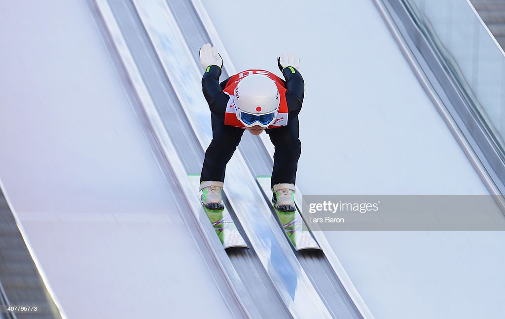 <a gi-track='captionPersonalityLinkClicked' href=/galleries/search?phrase=Sara+Takanashi&family=editorial&specificpeople=7521573 ng-click='$event.stopPropagation()'>Sara Takanashi</a> of Japan jumps during the Ladies' Normal Hill Individual Ski Jumping training on day 1 of the Sochi 2014 Winter Olympics at the RusSki Gorki Ski Jumping Center on February 8, 2014 in Sochi, Russia.