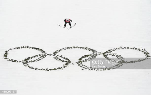 Sara Takanashi of Japan jumps during the Ladies' Normal Hill Individual Ski Jumping training on day 2 of the Sochi 2014 Winter Olympics at the RusSki...