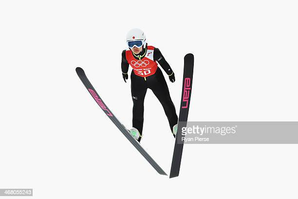 Sara Takanashi of Japan jumps during the Ladies' Normal Hill Individual Ski Jumping training on day 2 of the Sochi 2014 Winter Olympics at RusSki...