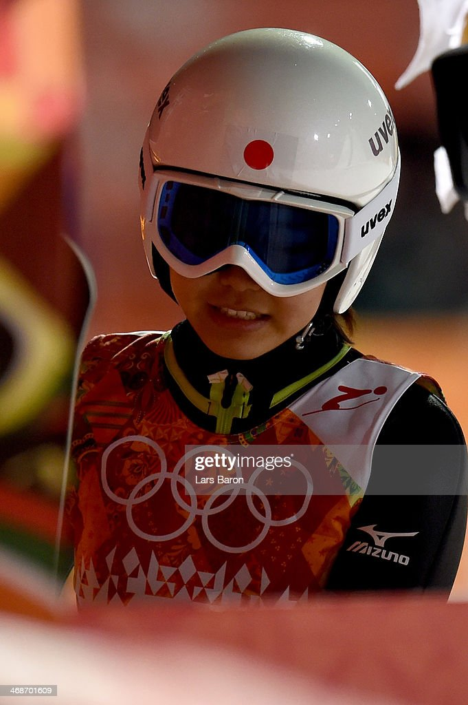 Sara Takanashi of Japan looks dejected after jumping during the Ladies' Normal Hill Individual final round on day 4 of the Sochi 2014 Winter Olympics...