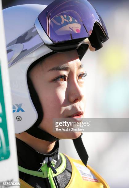 Sara Takanashi of Japan looks on after an official practice ahead of the Women's Large Hill during day three of the FIS Ski Jumping World Cup on...