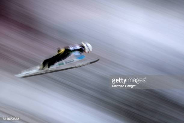 Sara Takanashi of Japan makes a practice jump prior to the Women's Ski Jumping HS100 during the FIS Nordic World Ski Championships on February 24...