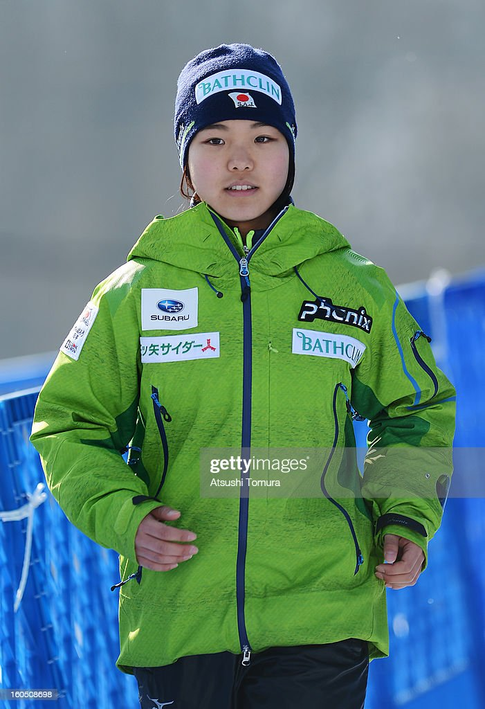 <a gi-track='captionPersonalityLinkClicked' href=/galleries/search?phrase=Sara+Takanashi&family=editorial&specificpeople=7521573 ng-click='$event.stopPropagation()'>Sara Takanashi</a> Of Japan poses during day one of the FIS Women's Ski Jumping World Cup at Miyanomori Jump Stadium on February 2, 2013 in Sapporo, Japan.