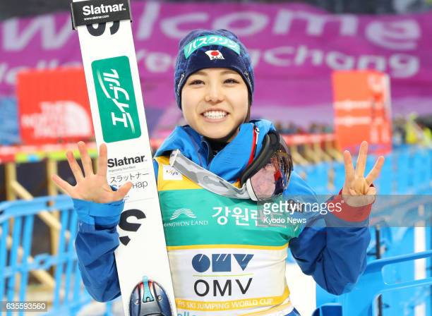 Sara Takanashi of Japan poses for a photo after picking up her 53rd career World Cup victory in Pyeongchang South Korea on Feb 16 2017 Takanashi's...