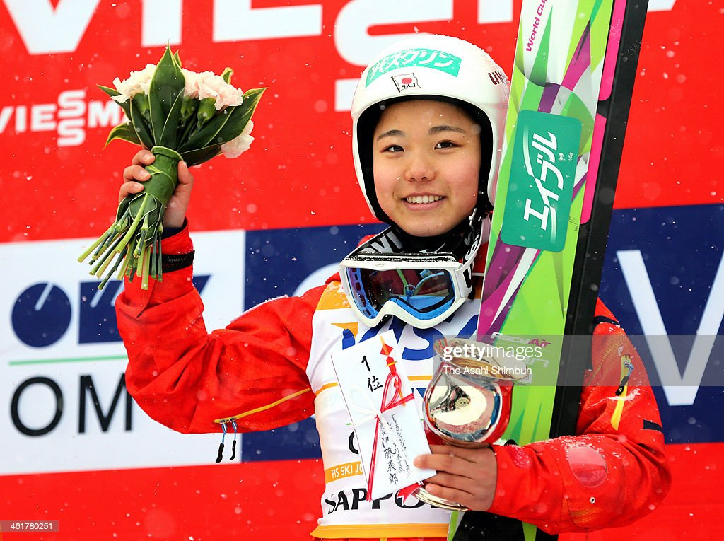 <a gi-track='captionPersonalityLinkClicked' href=/galleries/search?phrase=Sara+Takanashi&family=editorial&specificpeople=7521573 ng-click='$event.stopPropagation()'>Sara Takanashi</a> of Japan poses on the podium after winning the FIS Women's Ski Jumping World Cup Sapporo at Miyanomori Ski Jump Stadium on January 11, 2014 in Sapporo, Hokkaido, Japan.