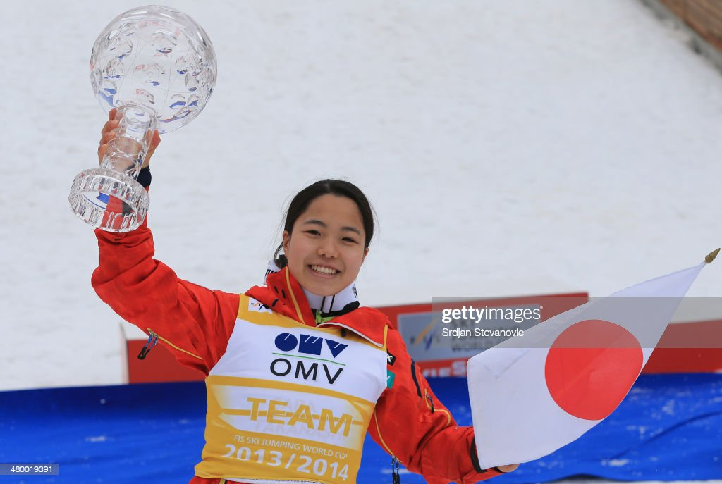 <a gi-track='captionPersonalityLinkClicked' href=/galleries/search?phrase=Sara+Takanashi&family=editorial&specificpeople=7521573 ng-click='$event.stopPropagation()'>Sara Takanashi</a> of Japan poses with the large crystal globe for the first place in world cup during the medal ceremony of the FIS Women's Ski Jumping World Cup on March 22, 2014 in Planica, Slovenia.