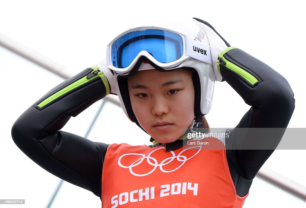 Sara Takanashi of Japan prepares for her jump during the Ladies' Normal Hill Individual Ski Jumping training on day 2 of the Sochi 2014 Winter...