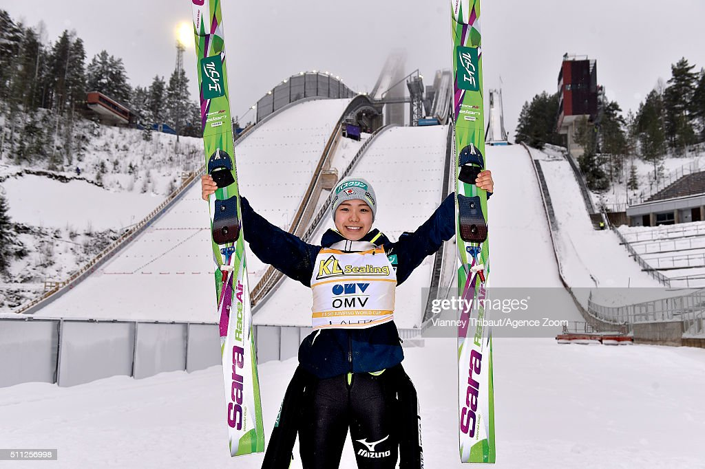 <a gi-track='captionPersonalityLinkClicked' href=/galleries/search?phrase=Sara+Takanashi&family=editorial&specificpeople=7521573 ng-click='$event.stopPropagation()'>Sara Takanashi</a> of Japan takes 1st place during the FIS Nordic World Cup Women's Ski Jumping HS100 on February 19, 2016 in Lahti, Finland.