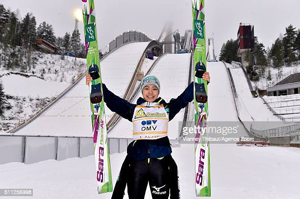 Sara Takanashi of Japan takes 1st place during the FIS Nordic World Cup Women's Ski Jumping HS100 on February 19 2016 in Lahti Finland