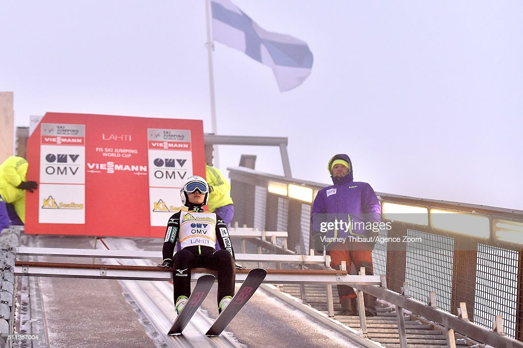 Sara Takanashi of Japan takes 1st place during the FIS Nordic World Cup Women's Ski Jumping HS100 on February 19, 2016 in Lahti, Finland.