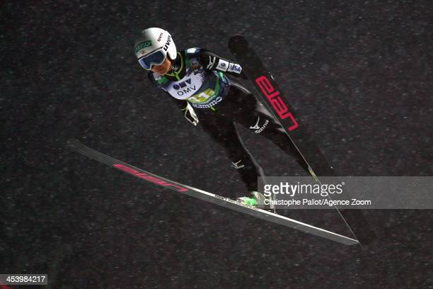 Sara Takanashi of Japan takes 1st place during the FIS Ski Jumping World Cup Mixed Team HS100 on December 06 2013 in Lillehammer Norway